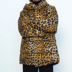 Zara Water Resistant Animal Print Puffer Coat